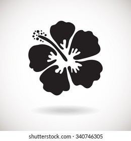 Black Hibiscus flower on white background. Vector illustration. Can be used for logo, logotype, sticker, web, print and other design.