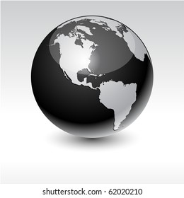 Black high-detailed earth ball. Vector.