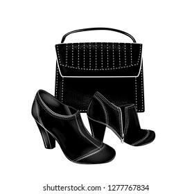 Black high-heeled ankle boots and bag. Fashion set.