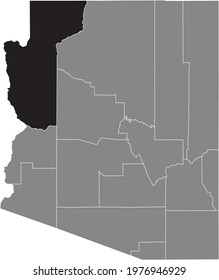 Black highlighted location map of the US Mohave county inside gray map of the Federal State of Arizona, USA