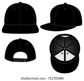 Black Hip Hop Cap Vector for Template