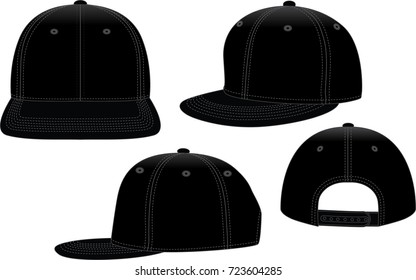 Black hip hop hat for template