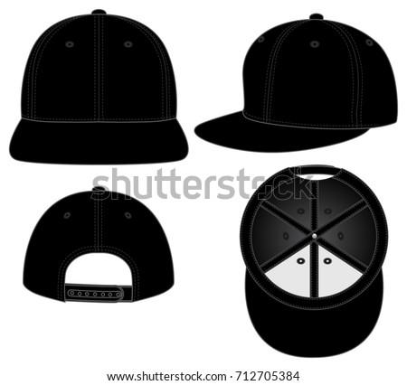 black hip hop hats foe template のベクター画像素材 ロイヤリティ
