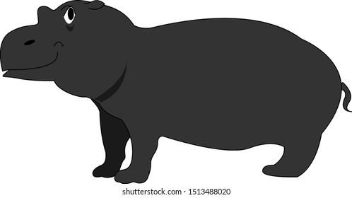 Black hippo, illustration, vector on white background.