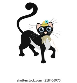 Black hipster and gentleman cat keeps the mouse in the teeth. Vector illustration