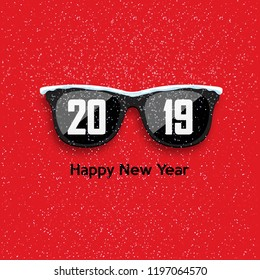 Black hipster glasses on snowfall background. Happy New Year and Merry Christmas. Vector illustration.