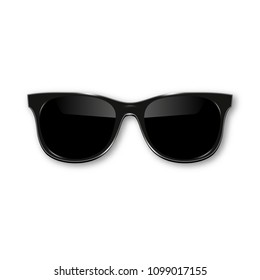 Black hipster sunglasses with dark glass on white background