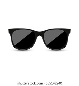 Black hipster sunglasses with dark glass on a white background