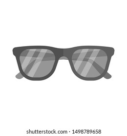 Black hipster sunglasses. Flat icon