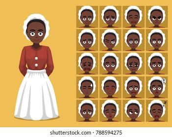 Black History Female Slave Cartoon Emoticon Faces Vector Illustration