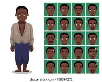 Black History Male Slave Cartoon Emoticon Faces Vector Illustration