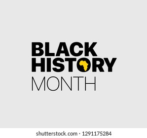 Black History Month logo with the Africa continent sulhouette. Vector illustration
