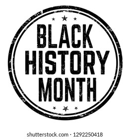 Black history month sign or stamp on white background, vector illustration