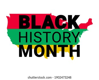 Black History Month. Vector African American History Design Element with America map for poster, print, card, banner, background