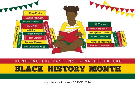 Black History Month vector illustration with a reading girl among stack of books about significant African-American people who made important contributions to all the world in different fields.