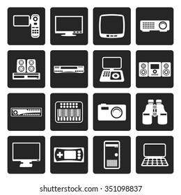 Black Hi-tech equipment icons - vector icon set 2