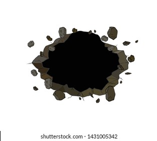 Black Hole in the broken wall. Comics style. vector illustration