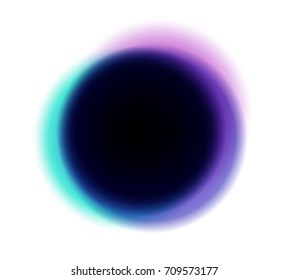 Black hole with chromatic color aberration around. Time and space, science. Illustration concept.