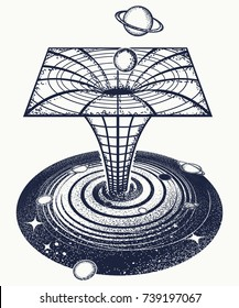 Black hole tattoo and t-shirt design. Symbol of science, astronomy, gravitational waves, curvature of space and time.  Wormhole. Surreal art sci-fi concept