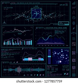 Black holographic screen with graphs and parameters, data analysis application. Sci-fi interactive interface. Vector