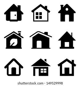 Black home icons isolated on white/ House symbols