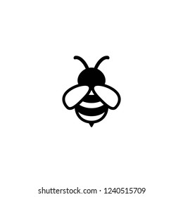 Black honey bee simple silhouette flat icon isolated on white. Summer pictogram in black and white. vector illustration