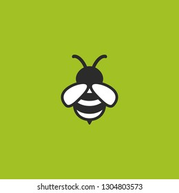 Black honey bee simple silhouette flat icon isolated on green. Summer, beekiping, organic, natural symbol. vector illustration