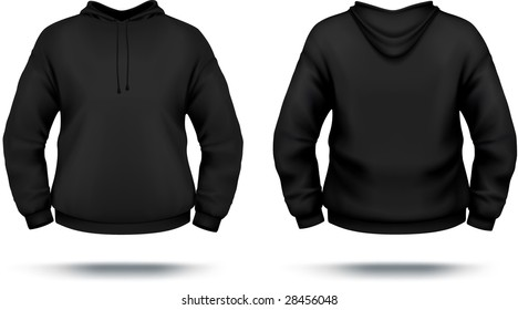 Black hoodie design template (front & back). VECTOR, contains gradient mesh elements.