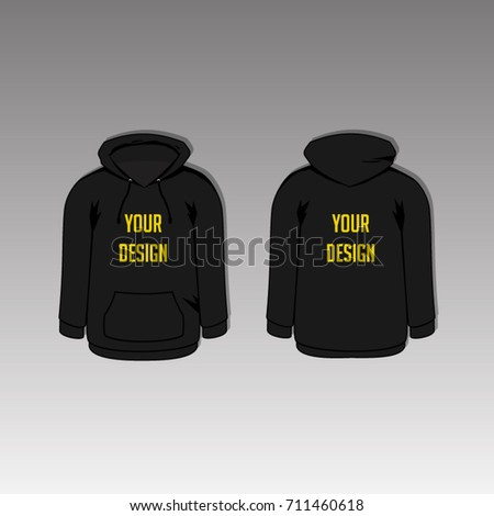 black hoodie template two side back stock vector royalty free