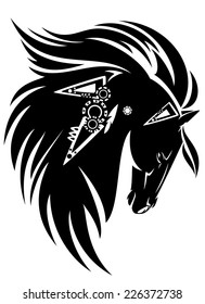 Black horse head with long mane tribal design - black and white vector animal