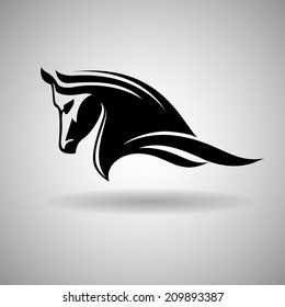 Black Horse Head Vector Design- dark outline over white