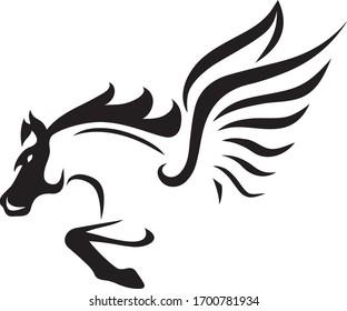 Black horse head vector logo, printable illustration
