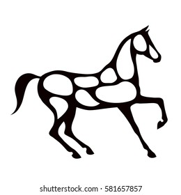 Black horse silhouette with white color spots. Vector.