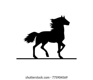 Black Horse Symbol Vector Logo Animal
