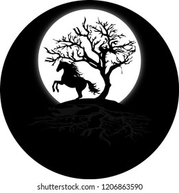 Black horse and tree on top of the mountain and a moon.