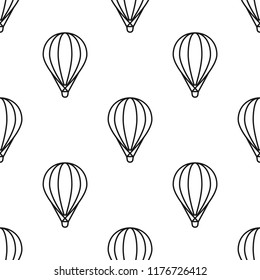 black hot air baloons line silhouettes on white background.  Flat cartoon vector ornament. Retro style background.  Seamless pattern. Good for print, paper, fabric.