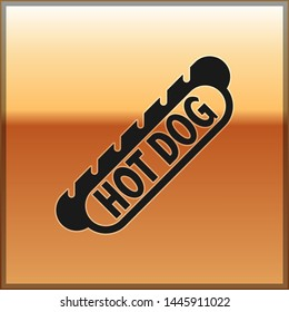 Black Hotdog sandwich icon isolated on gold background. Sausage icon. Fast food sign. Vector Illustration