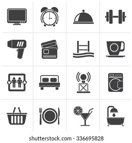 Black Hotel and Motel facilities icons - vector icon set