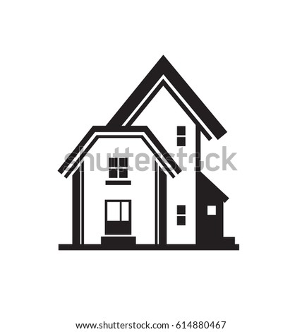 5fa9f2fc5577 Black house front icon, on white background. Vector illustration