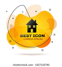 Black House icon isolated on white background. Home symbol. Fluid color banner. Vector Illustration