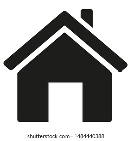 Black house with open door icon isolated on white background