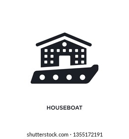 black houseboat isolated vector icon. simple element illustration from transportation concept vector icons. houseboat editable logo symbol design on white background. can be use for web and mobile