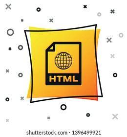 Black HTML file document icon. Download html button icon isolated on white background. HTML file symbol. Markup language symbol. Yellow square button. Vector Illustration