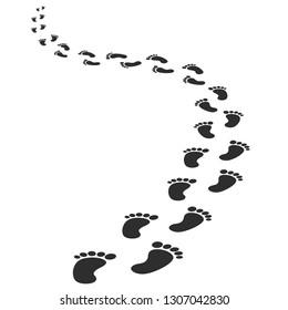 Black human footprints