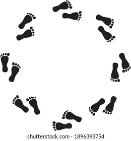 black human footprints running in a circle on a white background