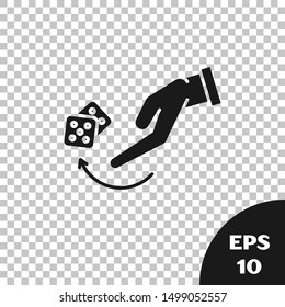 Black Human hand throwing game dice icon isolated on transparent background.  Vector Illustration