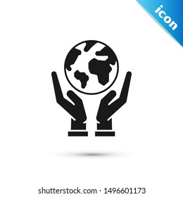Black Human hands holding Earth globe icon isolated on white background. Save earth concept.  Vector Illustration