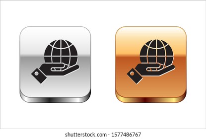 Black Human hands holding Earth globe icon isolated on white background. Save earth concept. Silver-gold square button. Vector Illustration