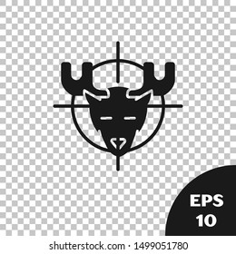 Black Hunt on moose with crosshairs icon isolated on transparent background. Hunting club logo with moose and target. Rifle lens aiming a moose.  Vector Illustration