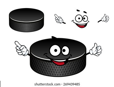 Black ice hockey puck cartoon character with recesses on the vertical edge suited for sporting mascot or team emblem design